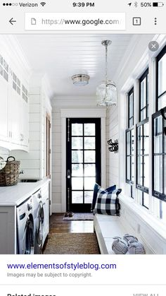 Love white with black trim for mudroom.