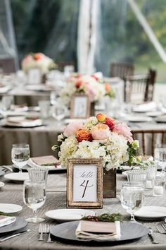 Rustic + elegant wedding centerpiece idea - wooden boxes with pink, white + orange roses + hydrangeas {Lauren Brown Photography}