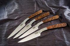 Madrone Steak Knives Forged Knife, Steak Knives, Knifes, Kitchen Knives, Tabletop, Weapons, Design, Handmade Knives, Knives