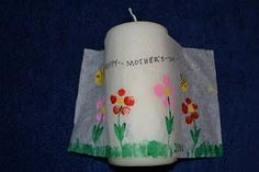 Create your own decorated candles.  Great for Mother's Day/Grandmother's Gifts, Teacher gifts, etc.
