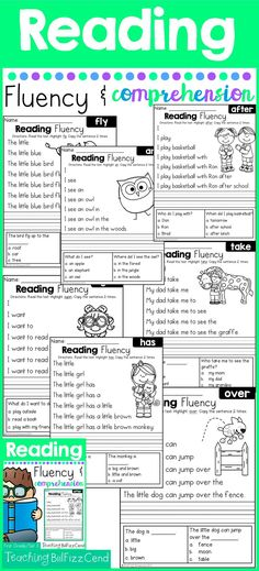 Very first reading comprehension!! 41 Fun and Engaging Fluency and Comprehension Pages. Builds Fluency and Confidence in reading, and comprehension for understanding!!