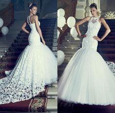 Berta High Neck Vintage Mermaid Lace Wedding Dresses 2015 Sexy Custom Backless Bridal Wedding Party Dress Bandage Bridal Gowns #dhgatePin
