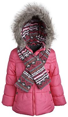 London Fog Little Girls' Classic Puffer Coat with Scarf ** Review more details @