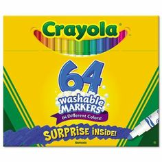 Crayola 64 Ct Washable Markers (071662087647) Largest collection of Crayola marker colors in one pack Great for gift giving Re-usable flip-top box and tiered sleeves for easy access to markers