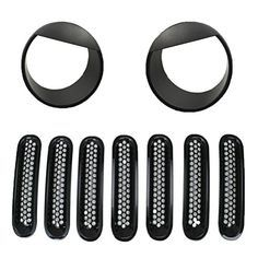 Fuway 2015 Latest Black Front Grill Mesh Grille Insert Kit & Angry Bird Style Front Light Headlight Trim Cover for Jeep Wrangler Rubicon Sahara Jk 2007-2015