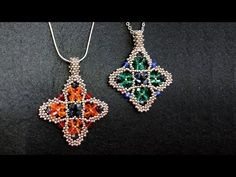 Beaded pendant tutorial - How to make beaded pendant Seed Bead Patterns, Beaded Jewelry Patterns, Beading Patterns, Jewelry Making Tutorials, Beading Tutorials, Making Bracelets With Beads, Beaded Bracelets, Seed Bead Projects, Motifs Perler