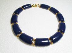 Vintage Trifari Blue Lucite Choker Panel Necklace Gold Tone  #Trifari #BlueLucitePanelChokerNecklace