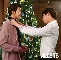 Kinda looks like Seokjin as a husband helping his husband to get ready on his first day of work and also look how happy Namjoon is when Seokjin helped him? My NamJin HEARTEU is happy Namjin, Yoonmin, Jikook, Bts Jin, Bts Bangtan Boy, Kim Taehyung, Jimin Jungkook, Seokjin, K Pop