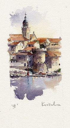 Korcula by Tony Belobrajdic was born in Rijeka, Croatia in Watercolor City, Watercolor Journal, Watercolor Sketch, Watercolor Landscape, Landscape Art, Landscape Paintings, Watercolor Paintings, Watercolours, Watercolor Pattern