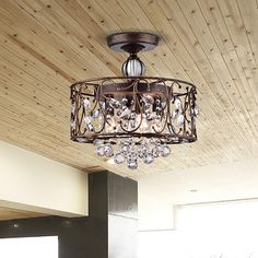 Bianca Round Iron Frame Flush Mount Chandelier with Crystal Balls | Overstock.com Shopping - The Best Deals on Flush Mounts