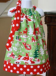 baby Christmas Pillowcase Dress michael miller by BlakeandBailey, $19.99