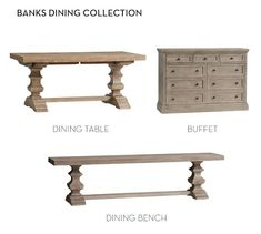 Large baluster posts with cove and ogee details and a stretcher underneath give this bench a dynamic design that's crafted to last. Part of the Banks Collection, this is a timeless dining piece. Furniture Showroom, Furniture Sale, Cheap Furniture, Online Furniture, Kitchen Furniture, Furniture Design, Luxury Furniture, Dining Room Bench, Condo Decorating