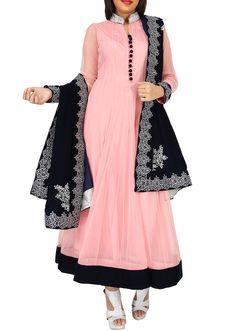 Pink anarkali suit matched with contrast black embroidered dupatta only on Kalki