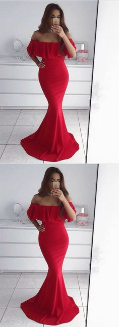 off shoulder evening dress,mermaid prom dress,sexy long formal dress,red evening gowns#longpromdress#promdress#eveningdress#