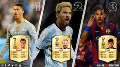 The Triple Threat ...  Fifa17 Stats of the top three revealed; Cristiano Ronaldo, Lionel Messi & Neymar