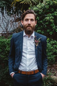 New Zealand groom style - love the Manuka flower boutonnière