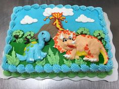 Dinosaur birthday cake by Laurie Grissom Dinasour Birthday Cake, 22nd Birthday Cakes, Birthday Sheet Cakes, Birthday Cake Girls, Dinosaur Birthday, 3rd Birthday, Costco Cake, Sheet Cake Designs, Little Girl Cakes