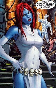 Mystique shows up in Mutant Wars as well. So another actual X-Men villain. Although since she's a shape shifter I could have shown you anyone and said it was Mystique since she's pretty good at it. Comic Book Heroines, Comic Book Characters, Comic Character, Mystique Marvel, Marvel Dc, Marvel Comics, Marvel Villains, Marvel Girls, Mystique Costume