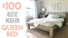DIY Rustic Modern Queen Bed - Shanty 2 Chic Wooden Bed Frame Diy, Diy Bed Frame, Murphy Bed Ikea, Murphy Bed Plans, Modern Queen Bed, Bed Frame Plans, Bed Hardware, Rustic Bedding, Unique Bedding