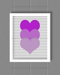 Nursery Art  Purple Ombre Heart Wall Art  Girl by BusybeesCreation, $18.00