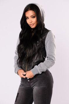 948d661582f Tammy Faux Leather Jacket - Black Grey