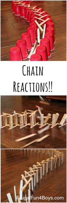 Awesome chain reactions with popsicle/craft sticks - the cup option is great for younger kids (age 5 )! School Age Activities, Steam Activities, Science Activities, Summer Activities, Craft Sticks, Popsicle Sticks, Craft Stick Crafts, Crafts For Kids, Stem Projects