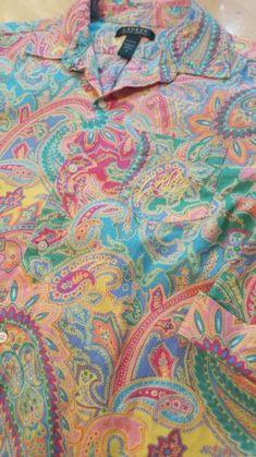 d4c99d2a Lauren Ralph Womens Paisley Nightshirt Sleep Button-Down Shirt Pink - Small  | eBay