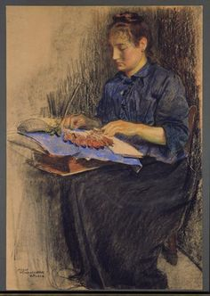 Encajera en pastel de Martin Monnickendam ~ Lacemaker in Pastel by Martin Monnickendam (1874-1943), a Dutch painter and draftsman. He was born in Amsterdam and trained at the Rijksakademie.