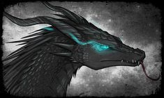 Nikulas's dragon, Peake. Peake has iridescent scales, like Scar, but in sunlight they turn a shade of dark blue. In the dark, they turn black. He has bright blue eyes(as pictured) and breathes ice.