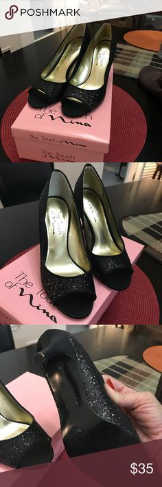 """The Touch of Nina black sequins heels. Size 7 Black sequin 3"""" open toe heels.   Only worn 1 time, like new with box. Nina Shoes Heels"""
