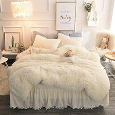 Faux Fur Bedding, Fluffy Bedding, Duvet Bedding Sets, Teen Girl Bedding, Cute Bedding, Cotton Bedding, Dorm Bedding, Dream Rooms, Dream Bedroom