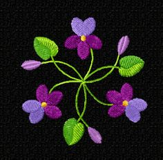 bouquet of violets Folk Art Flowers, Flower Art, Crochet Flower Patterns, Crochet Flowers, Beaded Embroidery, Embroidery Stitches, Violet Tattoo, Fashion Illustration Collage, Brother Embroidery