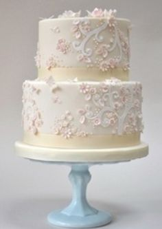 Wedgewood blue icing with white ribbons & white flowers and bride & groom.love love love this