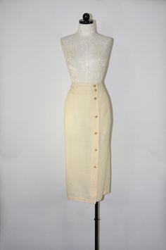 cream midi pencil skirt / ivory linen long skirt / by QuietUnrest