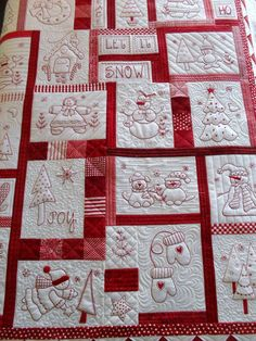 Redwork quilt -- Love the random placement of blocks! Great for Christmas