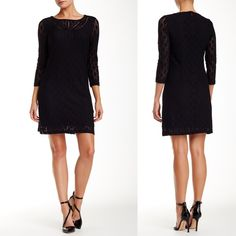 """Laundry Shelli Segal, Trim Lace Dress, Nordstrom Sophisticated, but elegant at the same time.  Perfect for business causal or a night out.   Laundry Lattice Trim Lace Dress Black: *Eyelet trim accents the jewel neck of a 3/4 length sleeve stretch lace dress.  *Jewel neck *3/4 length sleeves  *Concealed back zip closure  *Lined  *Approx. 33"""" length  *Imported  Fiber Content: Shell: 96% nylon, 4% spandex Lining: 100% polyester  Care: Hand wash cold or dry clean  Additional Info: Fit: this…"""