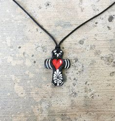 Tattoo Cross Pendant Sacred Heart for him or her by GospelHymns