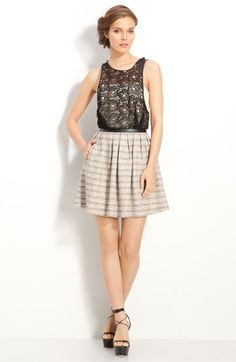 Tracy Reese Leather Trim Lace & Tweed Dress $425