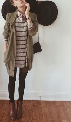 Trench Coat Over Striped T-Shirt Dress, Button Down, Black Tights, Booties