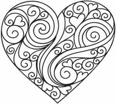Doodle Adult Colouring Page Heart and flowers coloring in page