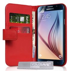 YouSave Samsung Galaxy S6 Leather-Effect Wallet Case - Red | Mobile Madhouse