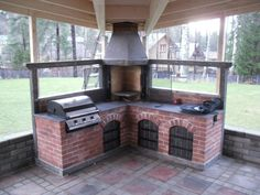 Finnoo Outdoor Bbq Kitchen, Outdoor Cooking, Outdoor Fire, Outdoor Dining, Outdoor Decor, Brick Bbq, Model House Plan, Rooftop Design, Patio Grill