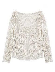 Damen Lace Bluse Spitze Tops T-Shirt Stickerei Häkeln DR272 Weiß Gr.one size Zacoo http://www.amazon.de/dp/B00KIIO39S/ref=cm_sw_r_pi_dp_bp36tb0D9QBH7