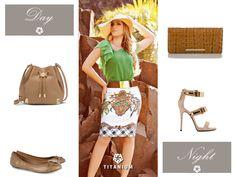 Sugestão de look para usar de dia e de noite! As saias Titanium combinam perfeitamente com vários looks! ^^