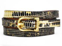 Triple H Bar Bracelet Beige Marked Lizard