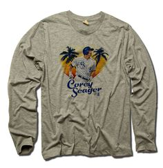 Corey Seager MLBPA Officially Licensed Los Angeles Long Sleeve Shirt S-3XL Corey Seager Painting B