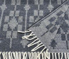 Soft indigo lambswool throw - 'Dukagang' handwoven by Madeleine Jude