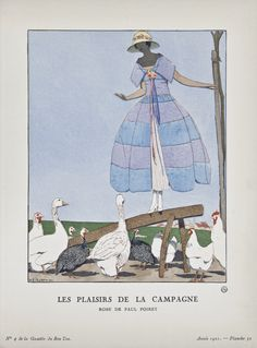 """""""Les Plaisirs de la Campagne - Robe de Paul Poiret,"""" André-Edouard Marty, April 1921. Published from 1912 to 1925, """"La Gazette du Bon Ton"""" was an iconic French fashion magazine started by Lucien Vogel. His goal was to emphasize the connection between fashion and art, and maintain a distinct and elitist image. Exquisite and vibrant fashion plates featuring women's clothing were created by modern artists of the period."""
