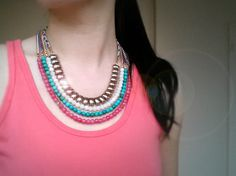 Multi Strand Beaded Bib Necklace by JLPromiseJewellery, $75.00
