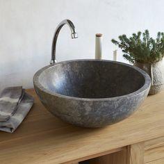 IBYZA márvány mosdó, kerek, szürke - TEAKhome
